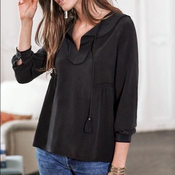 e3eb7c4912237 NWT Sezane Mary Black silk blouse - size 6