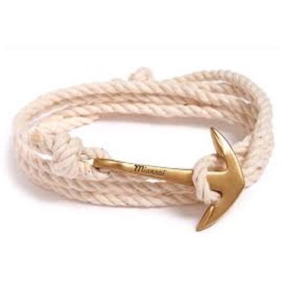 Miansai Brass Anchor On Rope in White X2IQQnaN