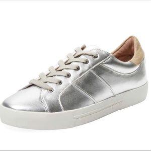 "Joie ""Dakota"" silver metallic leather sneakers"