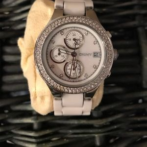 DKNY watch with mother of pearl face