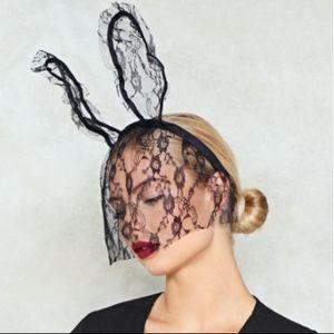 Accessories - MASQUERADE BLACK LACE VEIL W HEADBAND BUNNY EARS