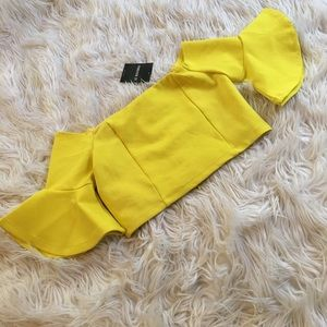 Yellow Forever 21 crop top with bell sleeves | nwt