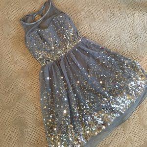 Sz 1 Ruby Rox grey/silver party dress
