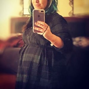 Navy and Dark Green Plaid Maternity Top