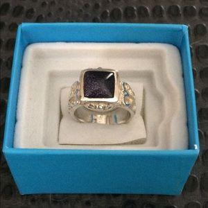 Size 7 Silver Ring w/Purple Sandstone