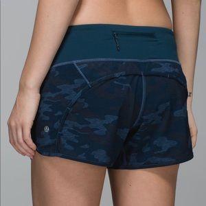 Lululemon Navy Camo Run Time Shorts 6
