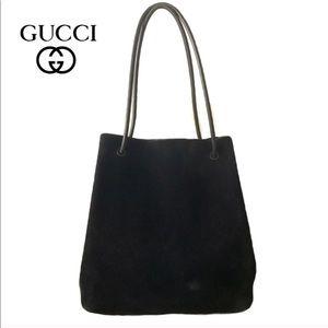 Gucci Black Suede Drawstring Strap Bucket Tote bag