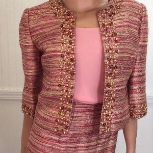Victor Costa 3 Piece Pencil Skirt Suit Sz 4 Beaded