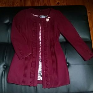 Jackets & Blazers - Burgundy Wine Ruffled Wool Jacket