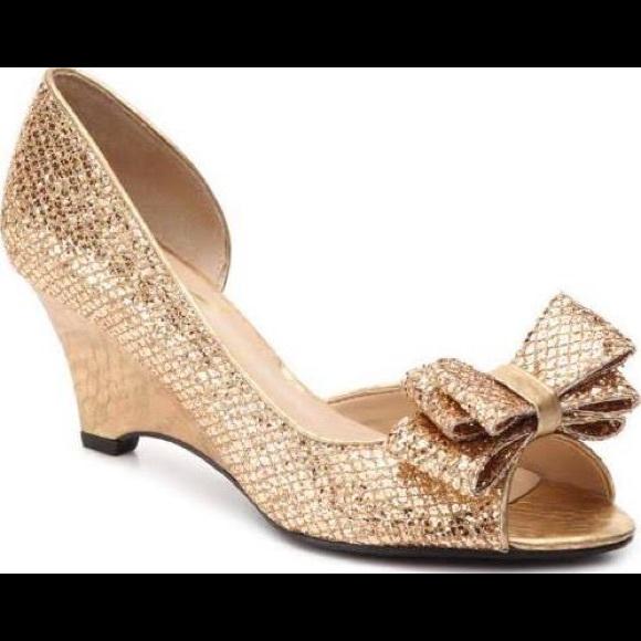 c0cf984d60eb44 J. Renee Shoes - Gold Chrissy Wedge Pumps