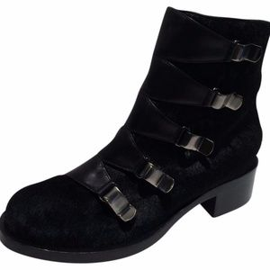 New! Emilio Pucci Calf Hair Buckle Ankle Boots