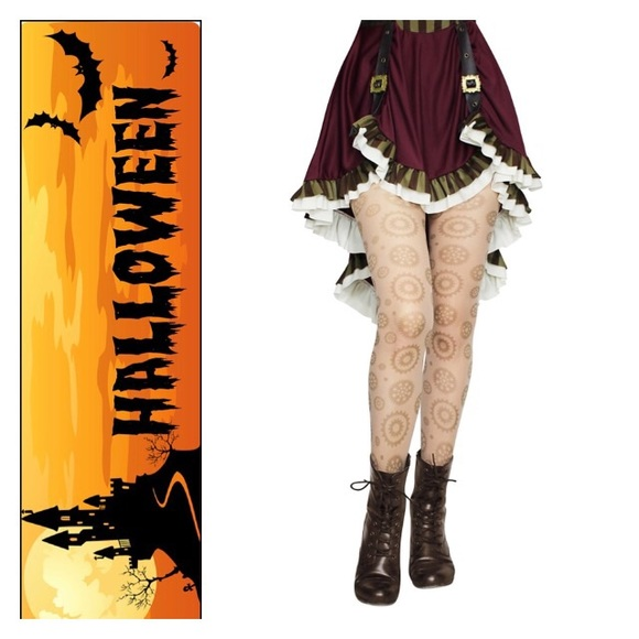 Emo Halloween Tights Spandex Opaque Pantyhose W//Black Cat Print to The Knees