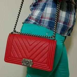 Handbags - Red Crossbody Le Boy Clutch Real Leather