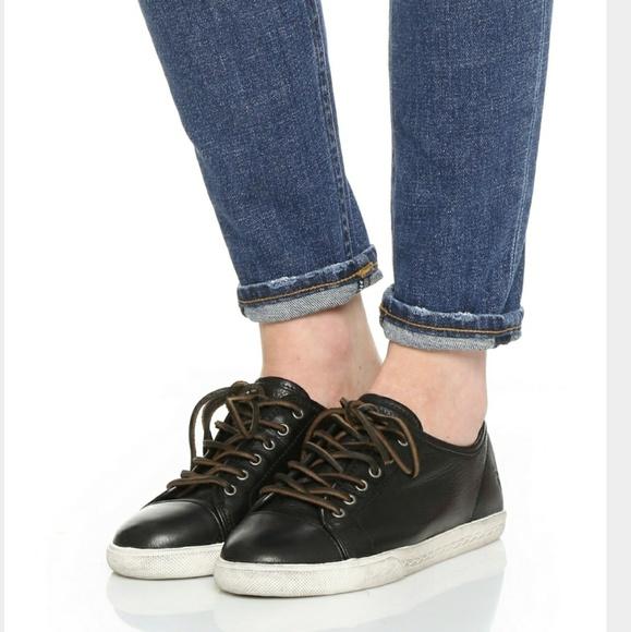 Frye Mindy Black Leather Low Sneaker