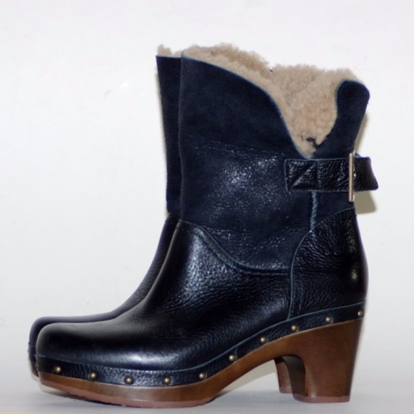 854b0b18eae UGG Leather Sherpa Clog Platform Boots Winter 6