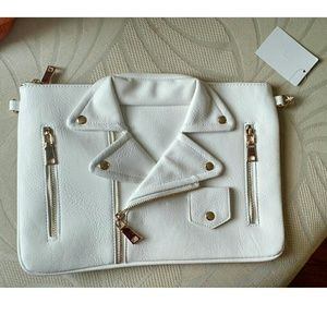 Handbags - WHITE MOTO JACKET CLUTCH