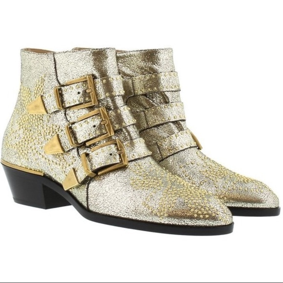 9d6ca4ccb Chloe Shoes | Brand New Susanna Gold Glitter Boots | Poshmark