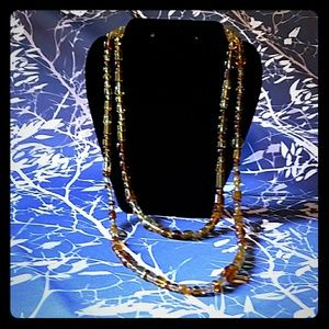"Jewelry - ""Amber Waves"" Double Strand Glass Necklace"
