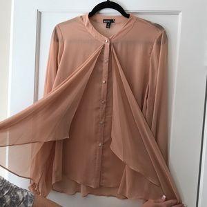 Beautiful sheer salmon pink blouse