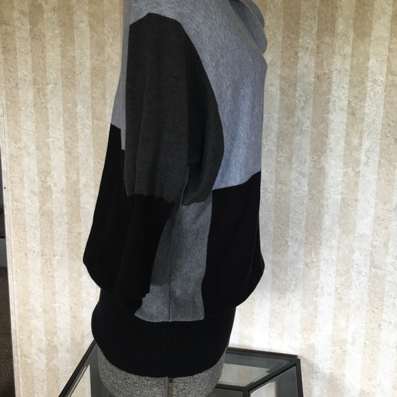Fashion Bug Sweaters - Black and gray block patterned sweater.