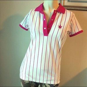 Boast Pink Pinstriped Polo