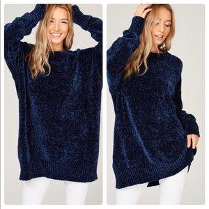 Sweaters - RESTOCKED! Chenille/Velvet Yarn Crew Neck Pullover