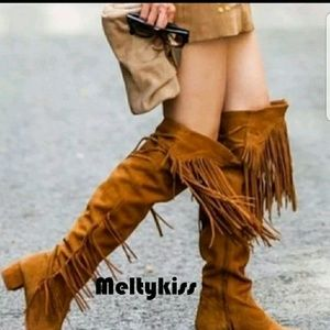Zara fringe high boots