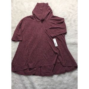 New maroon 2X slouch neck half sleeve sweater