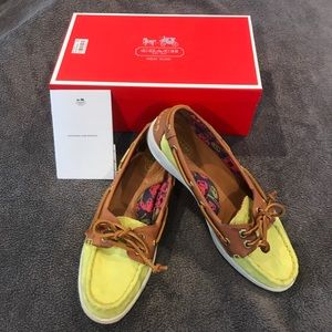 Coach bright yellow/green boat shoes.