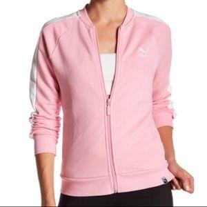 Puma Pink Track Jacket Zip Up Sweatshirt Medium