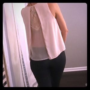 ASTR Flowy (Peek-A-Boo) Sheer back tank.