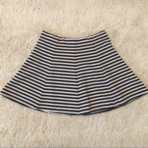 Aeropostale Black & White Striped Skater Skirt