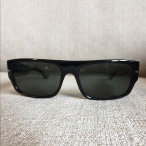Black Persol Polarized Sunglasses w Silver Details