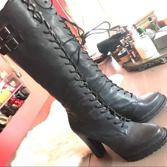 bcbg lace up booties