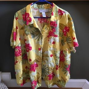 Never worn! Yellow and pink floral button up