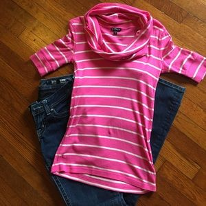 Striped Cowl Neck Half Sleeve Shirt