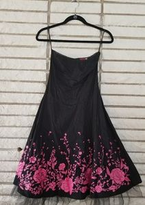 Black strapless dress with pink flowers