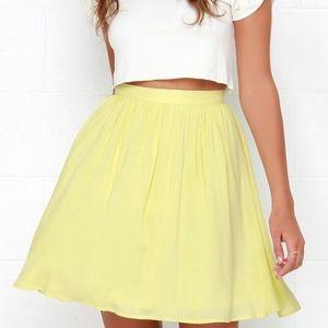 Lulu's High Waist Yellow Skater Skirt