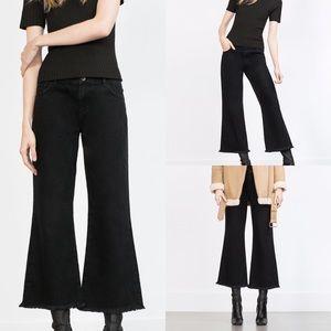 NWT Zara Crop Flare Black Jeans