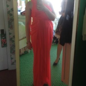 Coral asymmetrical layered gown