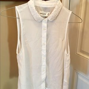 Abercrombie Kids Dressy White Sleeveless Blouse