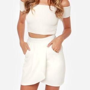 Lulu's Ivory Envelope Skirt