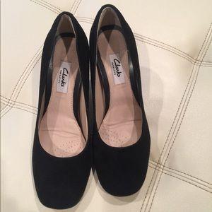 Clark's chunky 3 in heels. Black suede