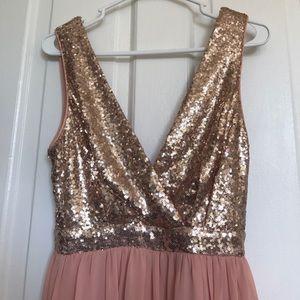 481b40f8ef5 Lulu s Dresses - lulu s elegant encounter rose gold sequin maxi.