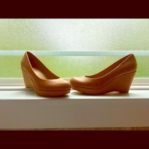 Tan Leather Wedges - Ana Kenny Wedge Size 7