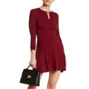 TOPSHOP Ribbed skater long Sleeve Dress size 4