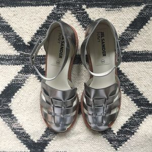 Jil Sander Navy - like new silver sandals Sz 38.5