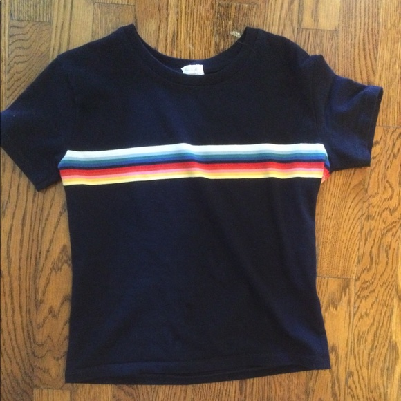 6789b3abeb Brandy Melville Tops - Brandy Melville navy top with rainbow stripe