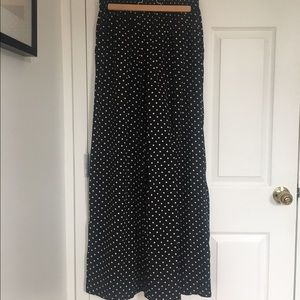Silky B&W Polka-Dotted Flowing, Wide-Leg Pants