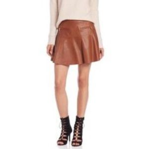 NWT Joie lamb leather cognac skirt size small